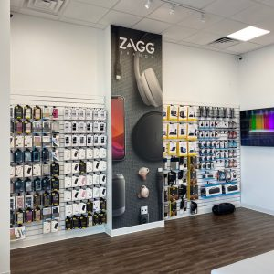 zagg accessories wall inside of store